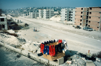 Outskirts of Tijuana, B.C. 1995. Maquilla worker housing being built.